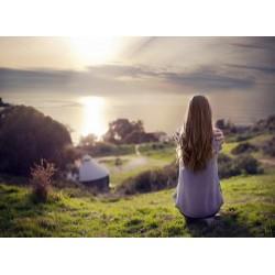 Topný obraz - Sedící dívka a scenérie