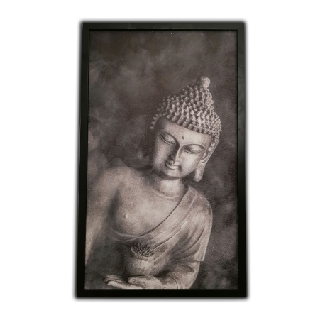 Topný obraz - Černobílý Buddha -  360W - 880 x 530 mm