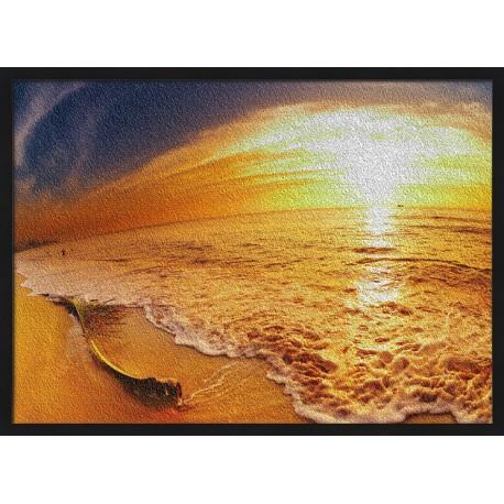Topný obraz - západ slunce na pláži - černý rám